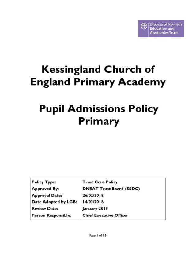 thumbnail of Pupil Admissions Policy