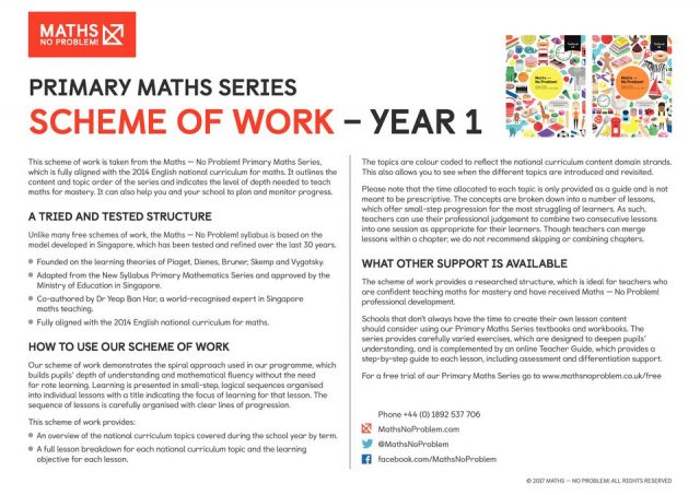 thumbnail of Maths No Problem_Scheme of Work_YEAR 1