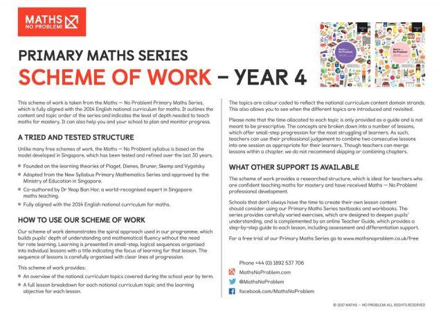 thumbnail of Maths No Problem_Scheme of Work_YEAR 4