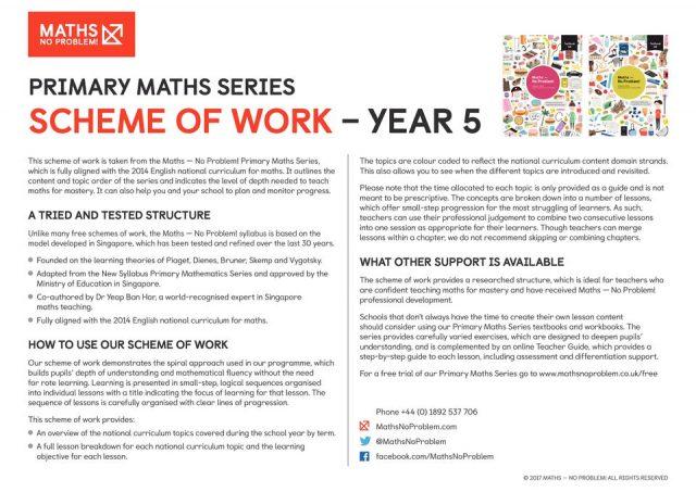 thumbnail of Maths No Problem_Scheme of Work_YEAR 5