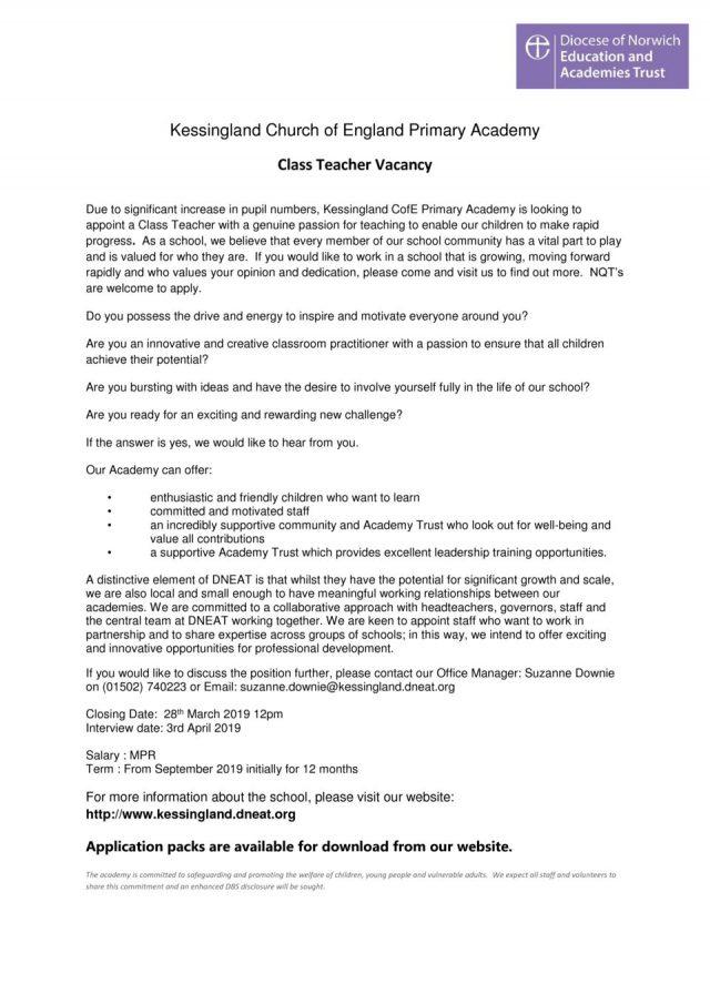 thumbnail of Class Teacher advert March 2019