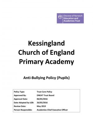 thumbnail of Anti Bullying Policy (pupils) approved May 2016 review May 2019