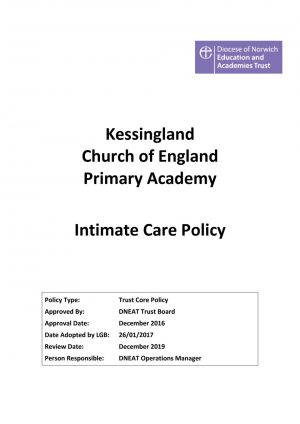 thumbnail of Intimate Care Policy approved Dec 2016, review Dec 2019